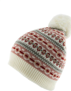 Dents Women's Striped Fairisle Print Knitted Beanie Hat With Pom Pom In Winter White