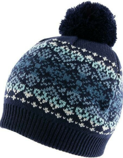 Dents Women's Fairisle Print Knitted Beanie Hat With Fading Stripe And Pom Pom In Navy