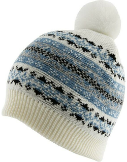 Dents Women's Fairisle Print Knitted Beanie Hat With Pom Pom In Winter White