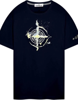 STONE ISLAND Cotton Jersey Marble One T-Shirt - Navy V0020