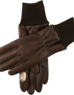 Dents Men's Fleece Lined Right Hand Leather Shooting Gloves In Brown