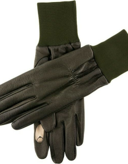 Dents Men's Fleece Lined Right Hand Leather Shooting Gloves In Olive
