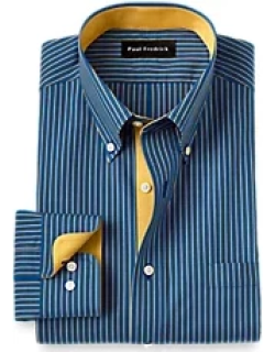 Tailored Fit Non-Iron Cotton Stripe Dress Shirt with Contrast Trim