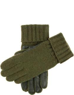 Dents Knitted Shooting Gloves With Leather Palm In Olive