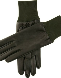 Dents Right Hand Leather Shooting Gloves In Olive