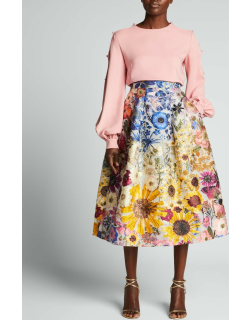 Ombre Floral-Embroidered Fil Coupe Midi Skirt