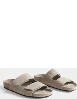 Double Strap Suede Slide Womens