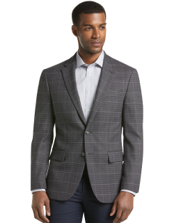 JoS. A. Bank Men's Travel Tech Collection Slim Fit Windowpane Sportcoat Clearance, Grey, 44 Regular