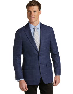 JoS. A. Bank Men's 1905 Collection Tailored Fit Plaid Sportcoat with brrr°® comfort Clearance, Blue, 42 Regular