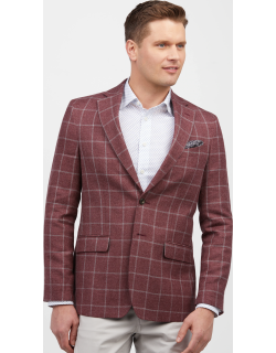 JoS. A. Bank Men's 1905 Collection Tailored Fit Windowpane Sportcoat Clearance, Berry, 40 Regular