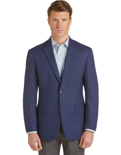 JoS. A. Bank Men's Executive Collection Traditional Fit Plaid Sportcoat Clearance, Blue, 38 Short