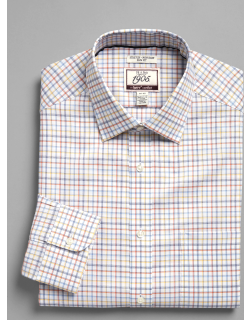 JoS. A. Bank Men's 1905 Collection Slim Fit Point Collar Check Dress Shirt with brrr°® comfort - Big & Tall Clearance, Orange, 17x36