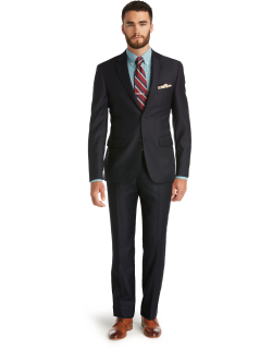 JoS. A. Bank Men's Signature Collection Tailored Fit Solid Pattern Suit - Big & Tall Clearance, Navy, 56 Long