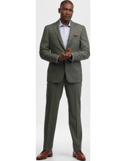JoS. A. Bank Men's Reserve Collection Tailored Fit Tic Weave Suit - Big & Tall, Olive, 50 Regular