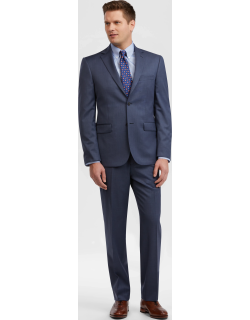 JoS. A. Bank Men's Traveler Collection Tailored Fit Tic Weave Suit - Big & Tall Clearance, Blue, 48 Long