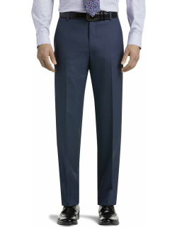 JoS. A. Bank Men's Traveler Collection Slim Fit Mini Check Suit Separate Pants - Big & Tall Clearance, Bright Blue, 54 Regular