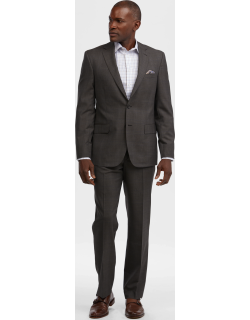 JoS. A. Bank Men's Reserve Collection Tailored Fit Plaid Suit - Big & Tall, Brown, 48 Regular