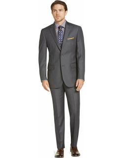 JoS. A. Bank Men's Signature Collection Tailored Fit Solid Pattern Suit Clearance, Cambridge Grey, 43 Regular