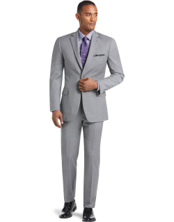 JoS. A. Bank Men's 1905 Collection Tailored Fit Textured Suit Separate Jacket, Mid Grey, 38 Long