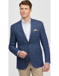 JoS. A. Bank Men's Traveler Collection Tailored Fit Textured Plaid Sportcoat - Big & Tall, Blue, 52 Long