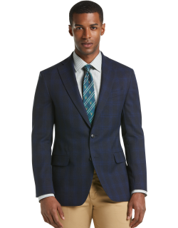 JoS. A. Bank Men's 1905 Collection Slim Fit Plaid Sportcoat Clearance, Navy, 42 Short