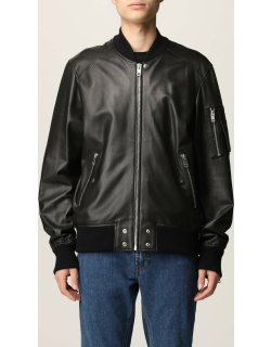 Diesel leather bomber jacket with zip