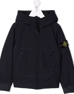 Stone Island Junior compass-patch padded hooded jacket
