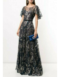 Marchesa Notte Beaded Sequin Evening Gown