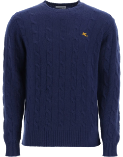 ETRO CABLE KNIT WOOL SWEATER XL Blue Wool