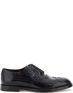 DOLCE & GABBANA GIOTTO BROGUE SHOES 42 Black Leather