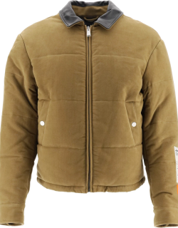 HERON PRESTON DOWN JACKET WITH LEATHER COLLAR L Brown Cotton