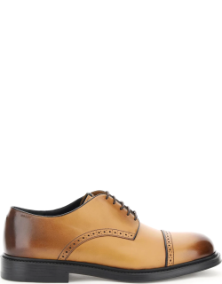 BALLY NIDAL LACE-UP SHOES 6 Brown, Beige Leather