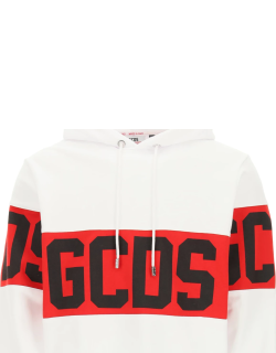 GCDS HOODIE WITH LOGO BAND L White, Red, Black Cotton