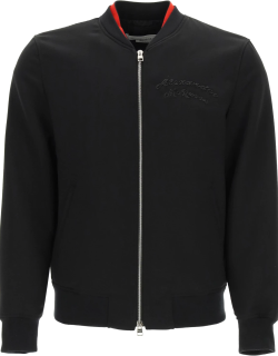 ALEXANDER MCQUEEN BOMBER JACKET WITH LOGO EMBROIDERY 50 Black Wool