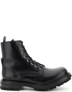ALEXANDER MCQUEEN WORKER LEATHER BOOTS 41 Black Leather