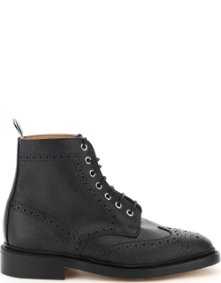 THOM BROWNE CLASSIC WINGTIP LACE-UP BOOTS 7 Black Leather