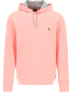 PS PAUL SMITH HOODIE WITH ZEBRA LOGO PATCH M Pink, Grey Cotton