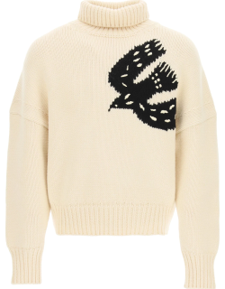 ALEXANDER MCQUEEN KNITTED SWEATER WITH SYMBOL M Beige Wool, Cashmere