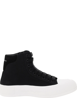 ALEXANDER MCQUEEN CANVAS HIGH SNEAKERS 40 Black Leather