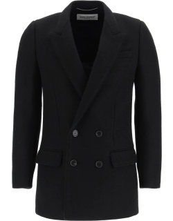 SAINT LAURENT DOUBLE BREASTED WOOL AND MOHAIR COAT 48 Black Wool