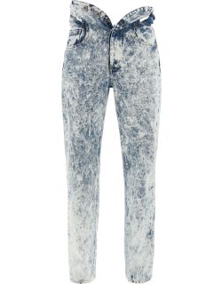 Y PROJECT KNOTTED WAIST JEANS 30 Light blue, White Denim