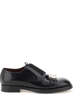 DOLCE & GABBANA BRUSHED LEATHER DERBY SHOES WITH BRANDED PLATE 41 Black Leather