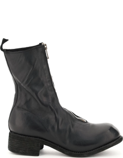 GUIDI FRONT ZIP LEATHER ANKLE BOOTS 41 Black Leather