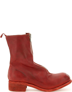 GUIDI FRONT ZIP LEATHER ANKLE BOOTS 41 Red Leather