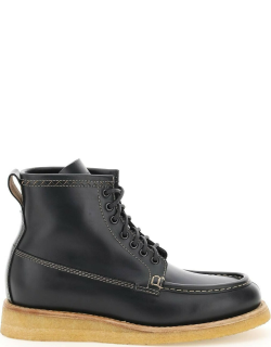 HENDERSON LACE-UP LEATHER BOOTS 40 Black Leather