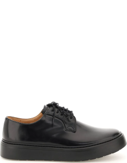 CHURCH'S BRUSHED LEATHER SHANNON WE LACE-UP SHOES 6 Black Leather