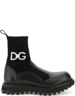 DOLCE & GABBANA LOGO KNIT ANKLE BOOTS 40 Black Leather, Technical