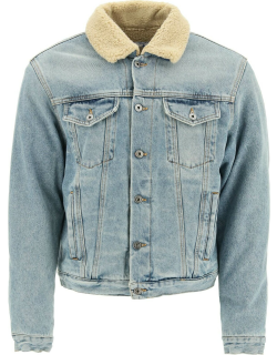 OFF-WHITE DENIM AND ECO-SHEARLING JACKET M Blue, Beige Cotton