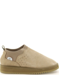 SUICOKE RON SLIP-ON SUEDE SNEAKERS 7 Beige Leather, Technical