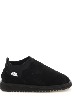 SUICOKE RON SLIP-ON SUEDE SNEAKERS 7 Black Leather, Technical